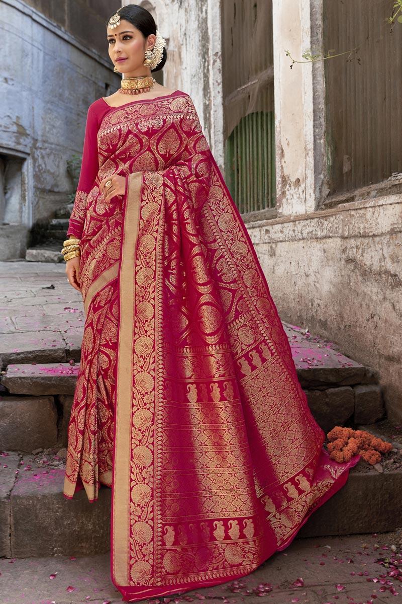 Eid Special Silk Fabric Wedding Function Wear Red Color Weaving Work Fancy Saree