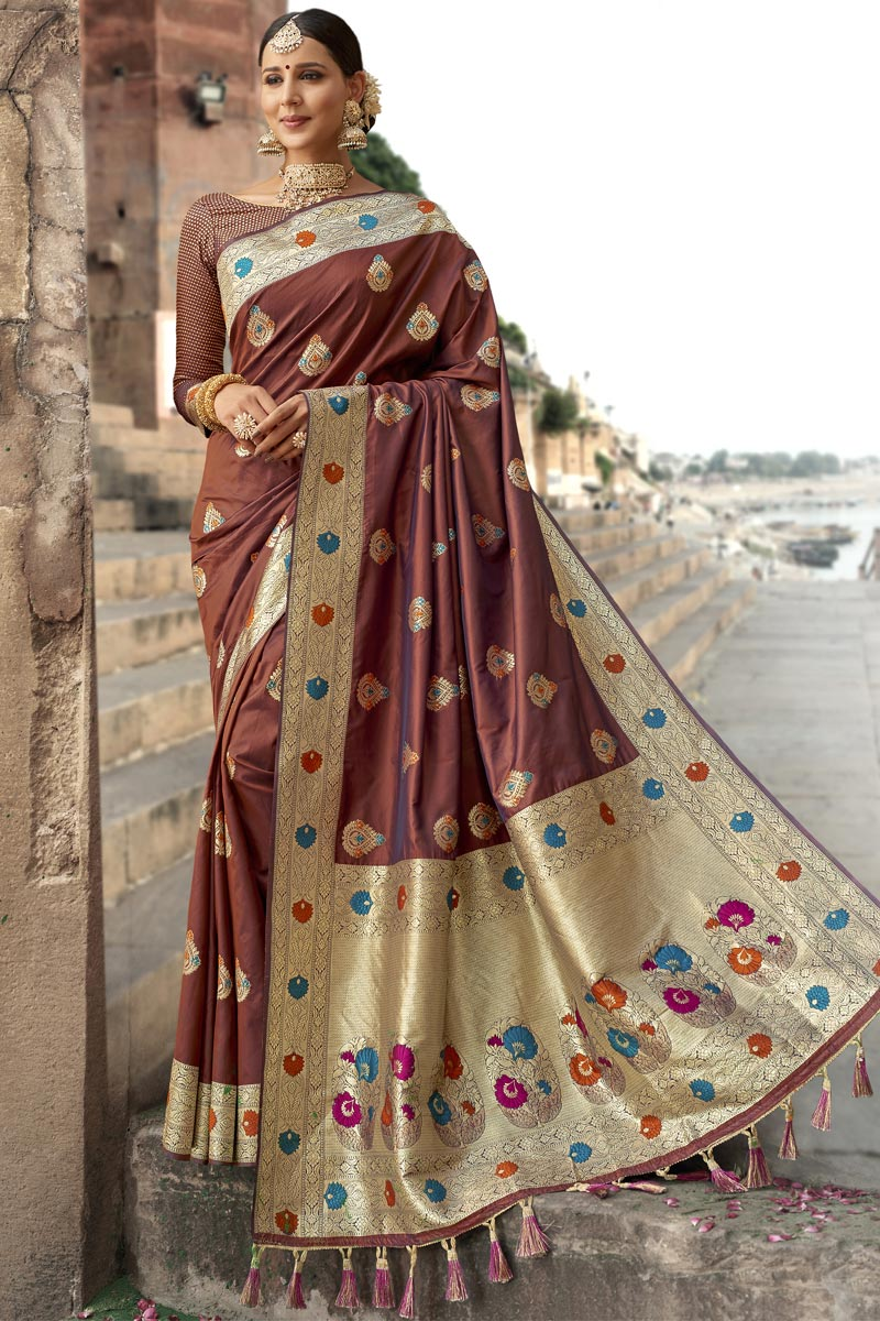 Eid Special Wedding Function Wear Brown Color Weaving Work Fancy Saree In Silk Fabric