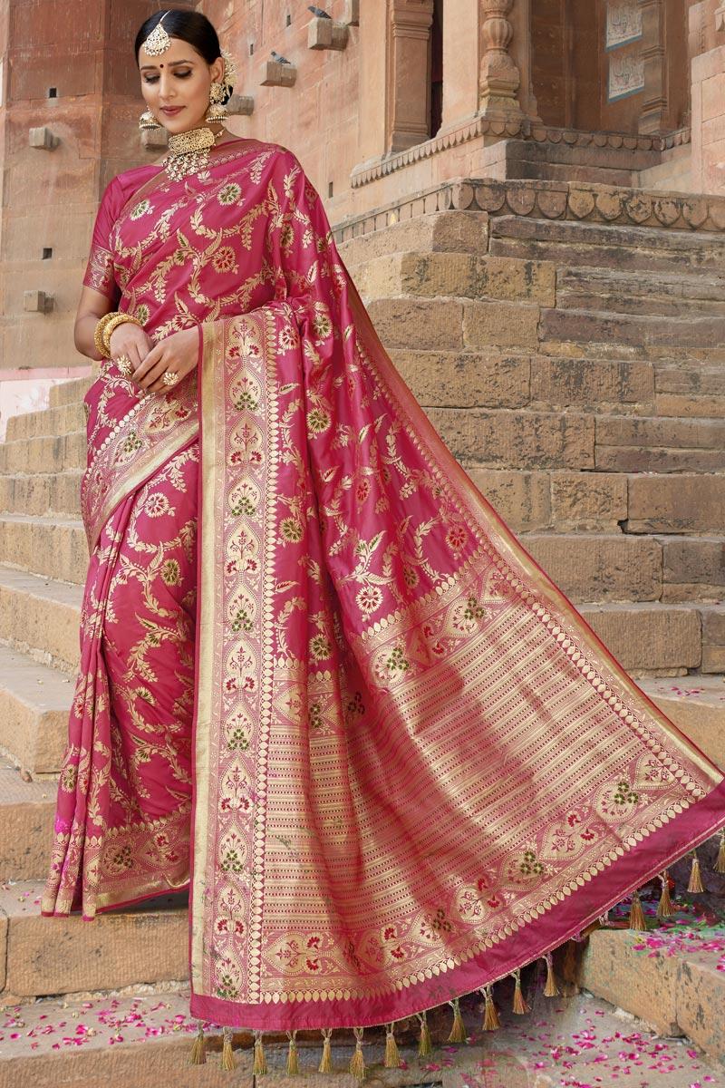 Pink Color Silk Fabric Wedding Function Wear Weaving Work Fancy Saree