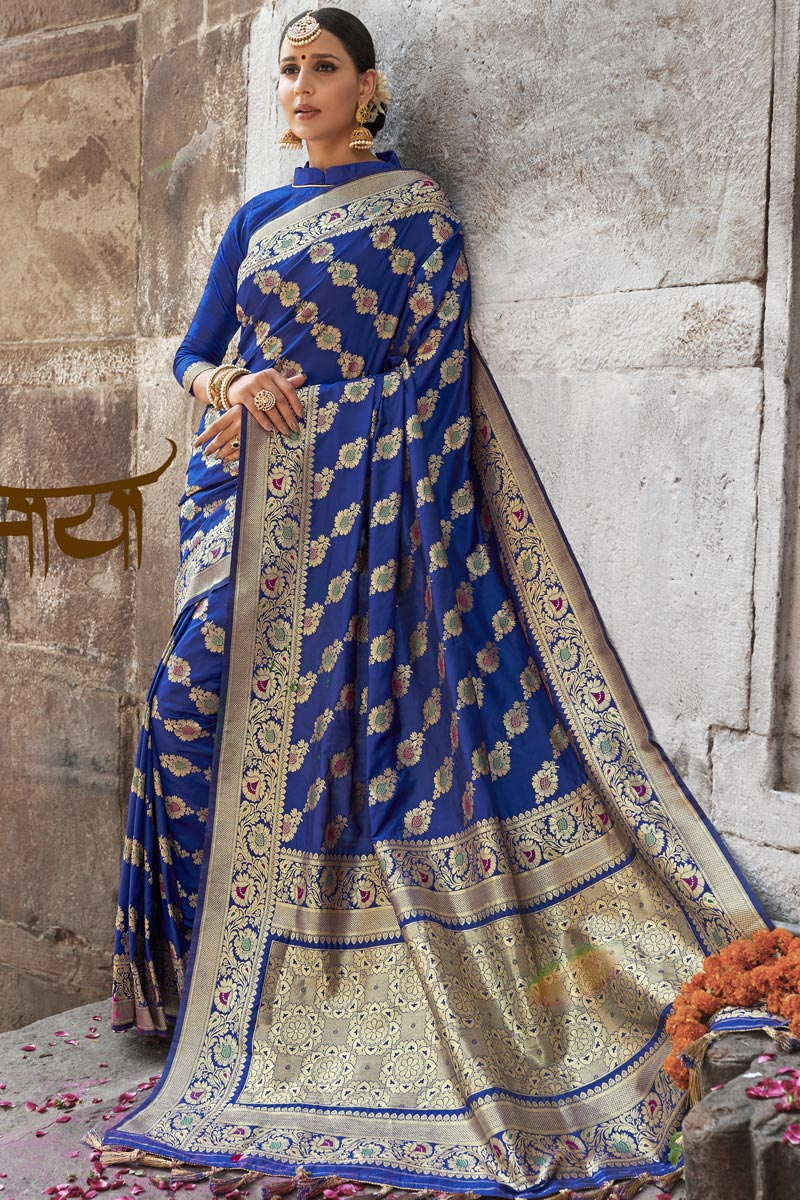 Wedding Function Wear Silk Fabric Fancy Weaving Work Saree In Blue Color