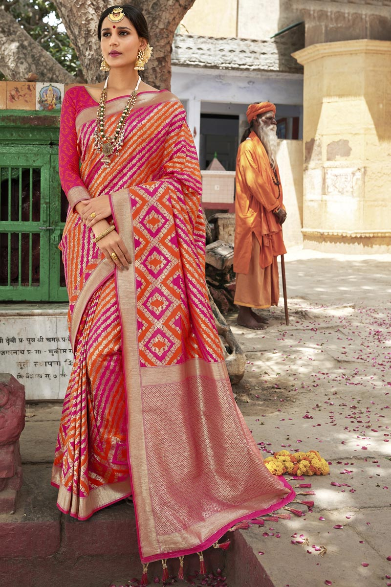 Eid Special Silk Fabric Wedding Function Wear Weaving Work Fancy Orange Color Saree