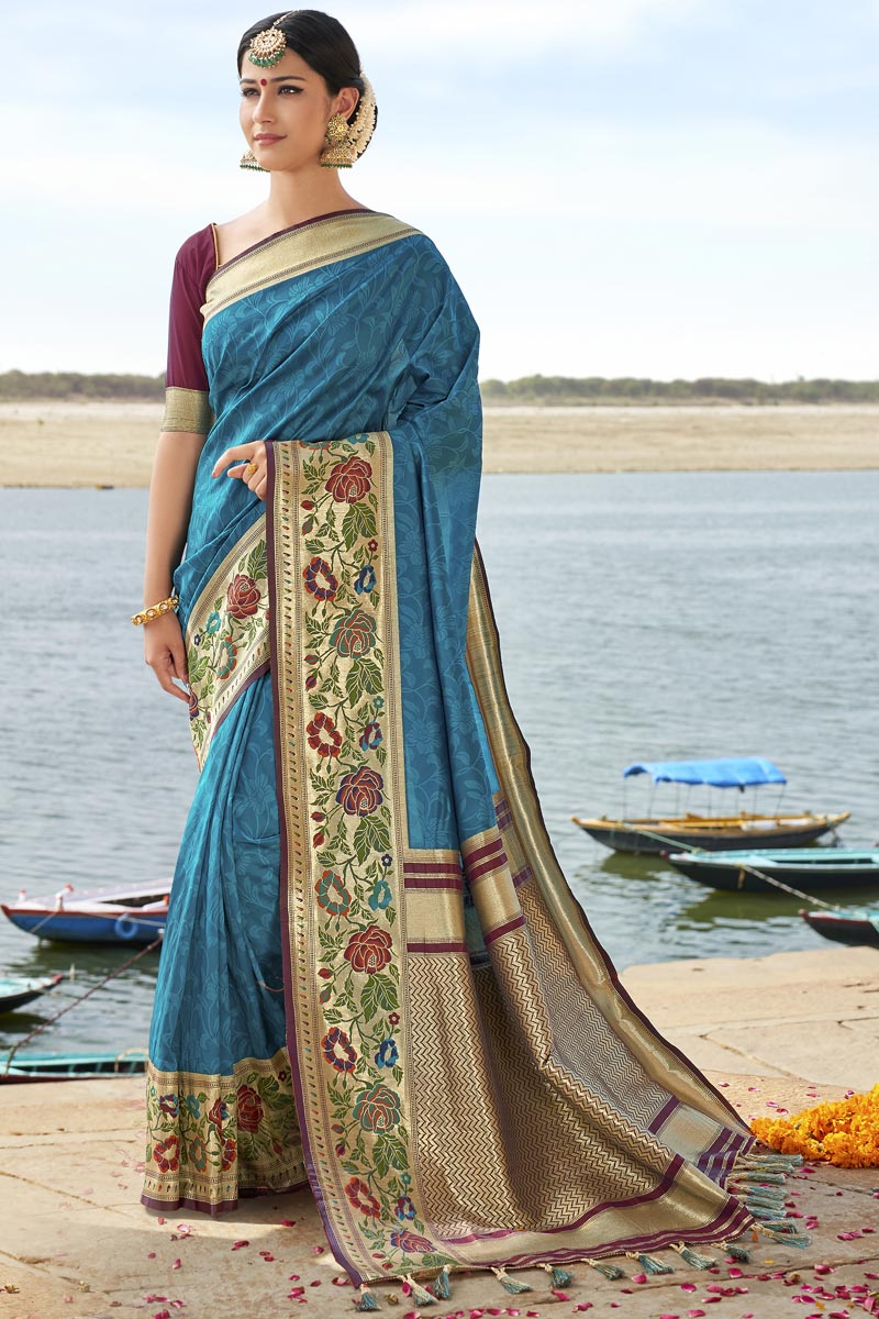 Eid Special Wedding Function Wear Silk Fabric Fancy Weaving Work Saree In Sky Blue Color
