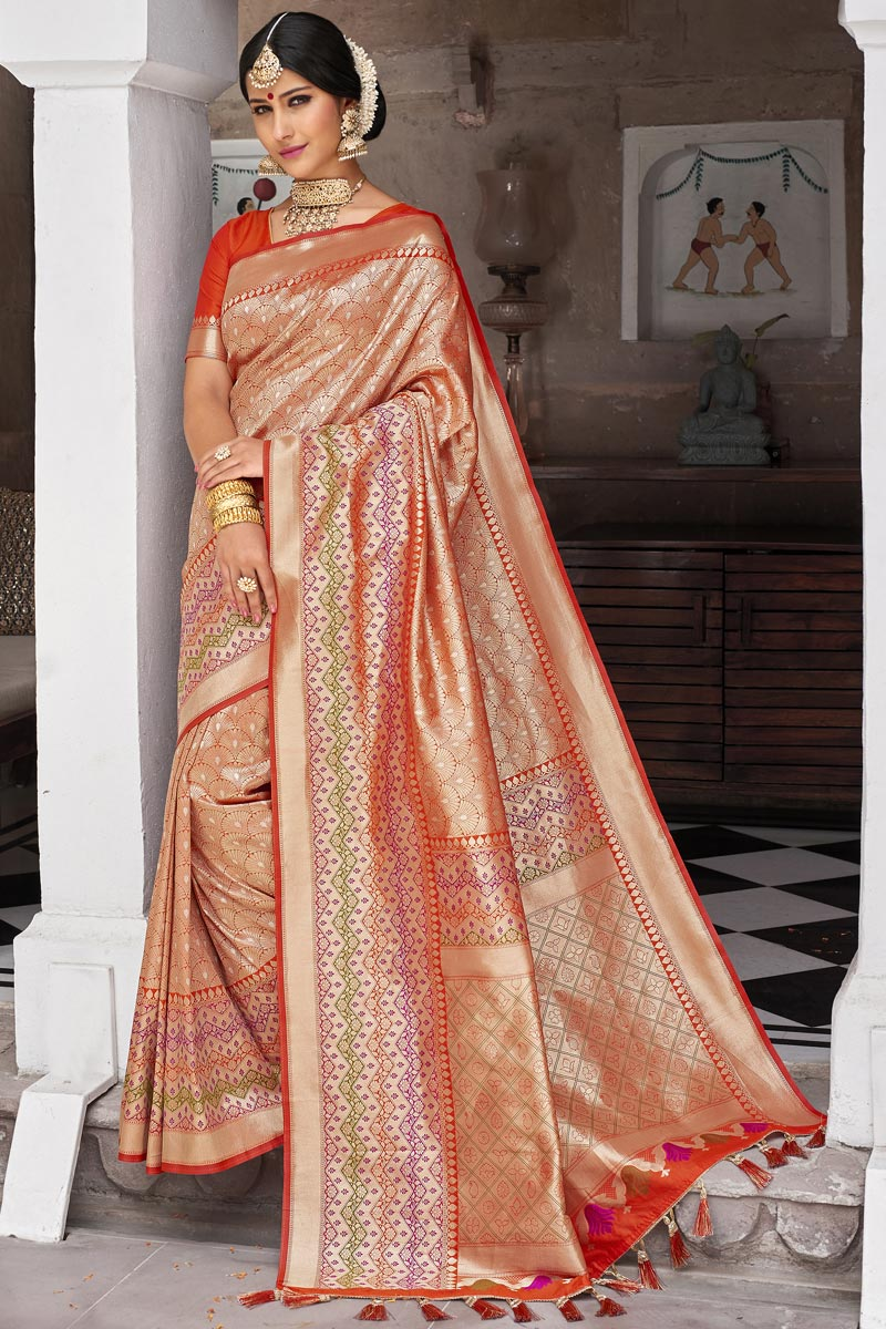 Eid Special Peach Color Wedding Function Wear Silk Fabric Weaving Work Fancy Saree