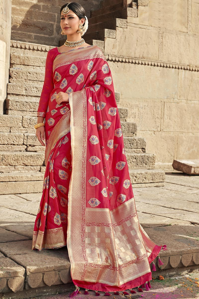 Eid Special Wedding Function Wear Silk Fabric Weaving Work Fancy Saree In Pink Color