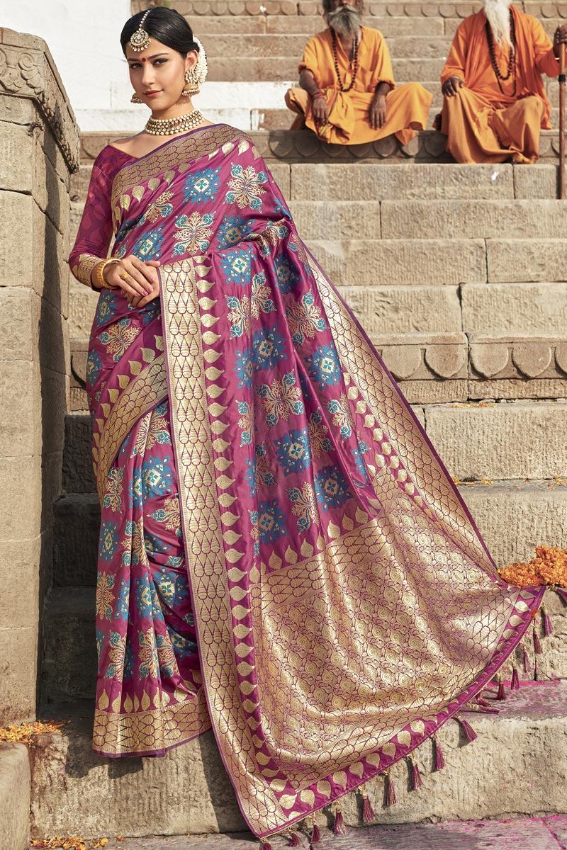 Silk Fabric Pink Color Wedding Function Wear Weaving Work Fancy Saree