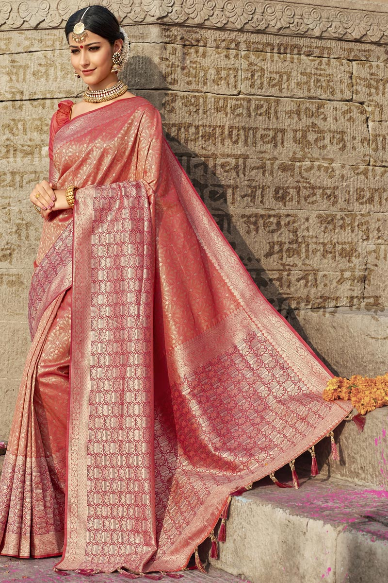 Eid Special Wedding Function Wear Peach Color Fancy Weaving Work Saree In Silk Fabric