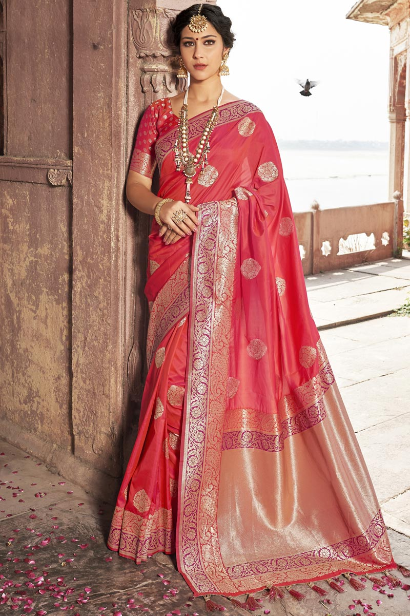Pink Color Wedding Function Wear Weaving Work Fancy Silk Fabric Saree