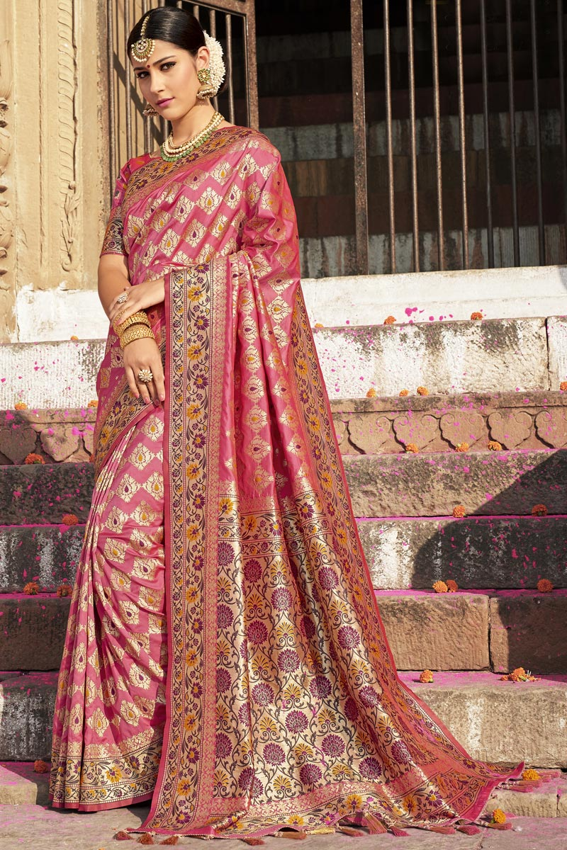 Wedding Function Wear Pink Color Designer Weaving Work Saree In Silk Fabric