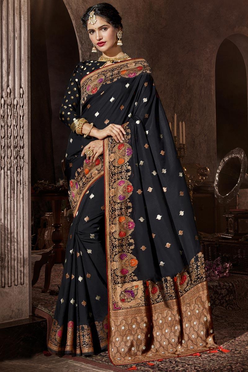 Black Color Occasion Wear Silk Fabric Designer Weaving Work Saree