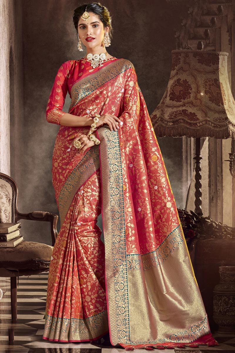 Occasion Wear Designer Red Color Saree In Silk Fabric With Weaving Work