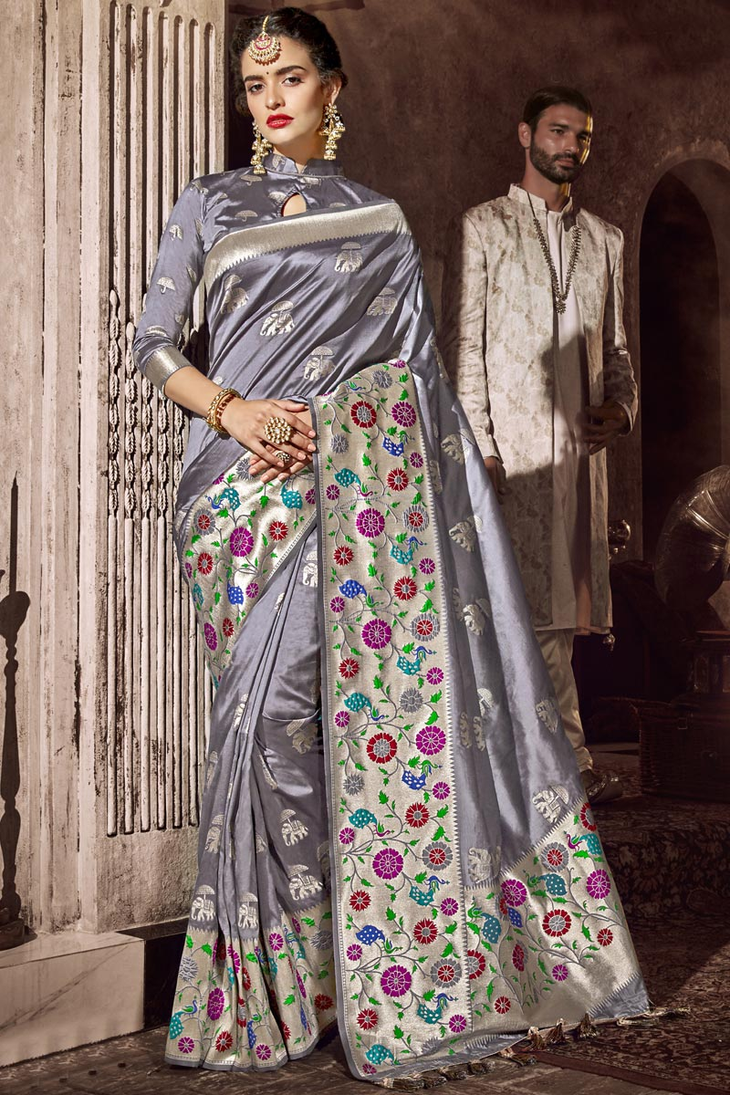 Grey Color Silk Fabric Occasion Wear Designer Saree With Weaving Work