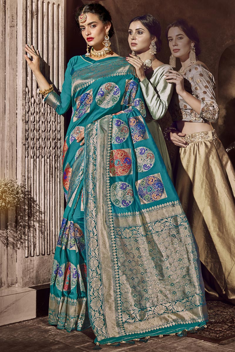 Silk Fabric Occasion Wear Designer Cyan Color Saree With Weaving Work