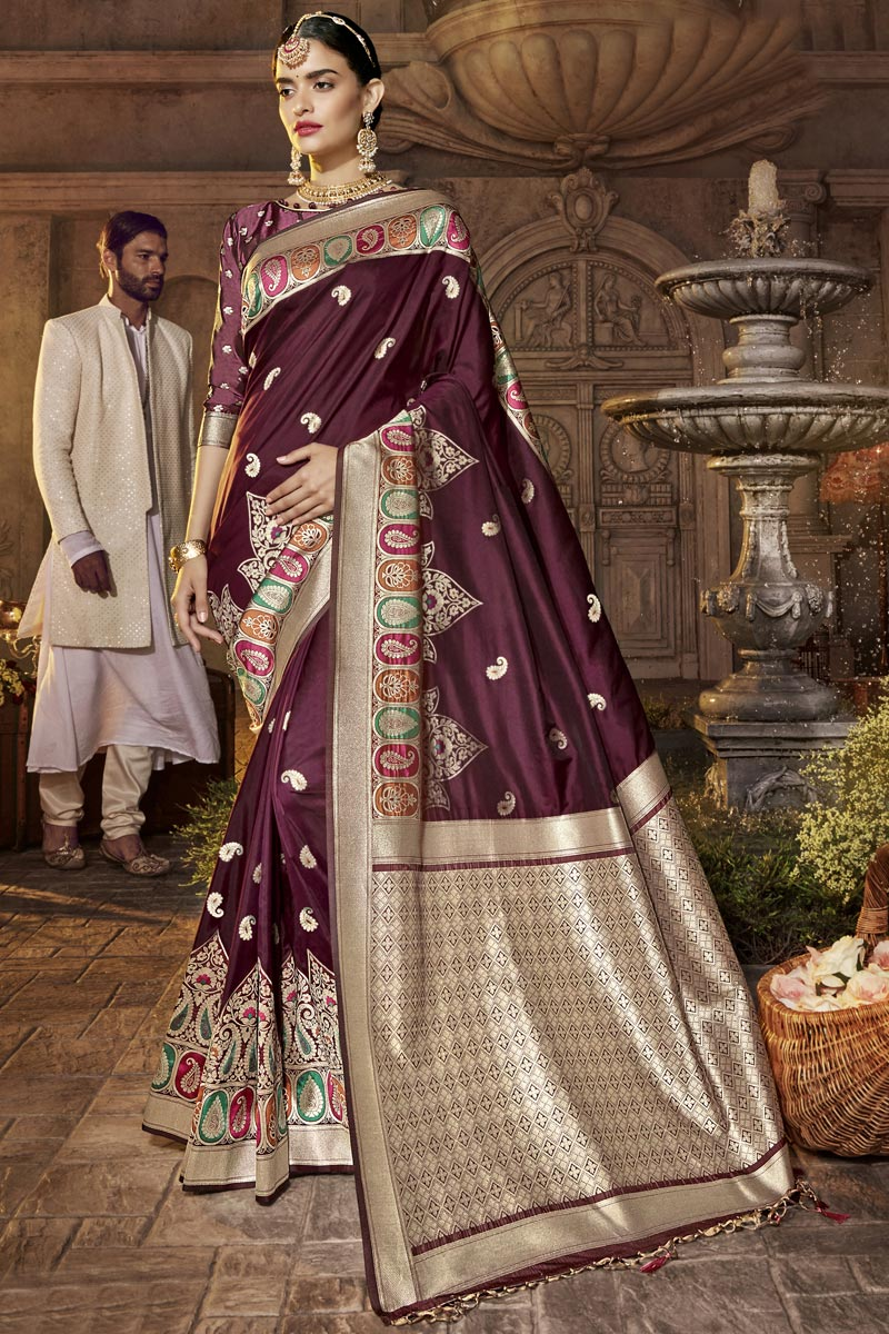 Designer Occasion Wear Silk Fabric Saree In Maroon Color With Weaving Work