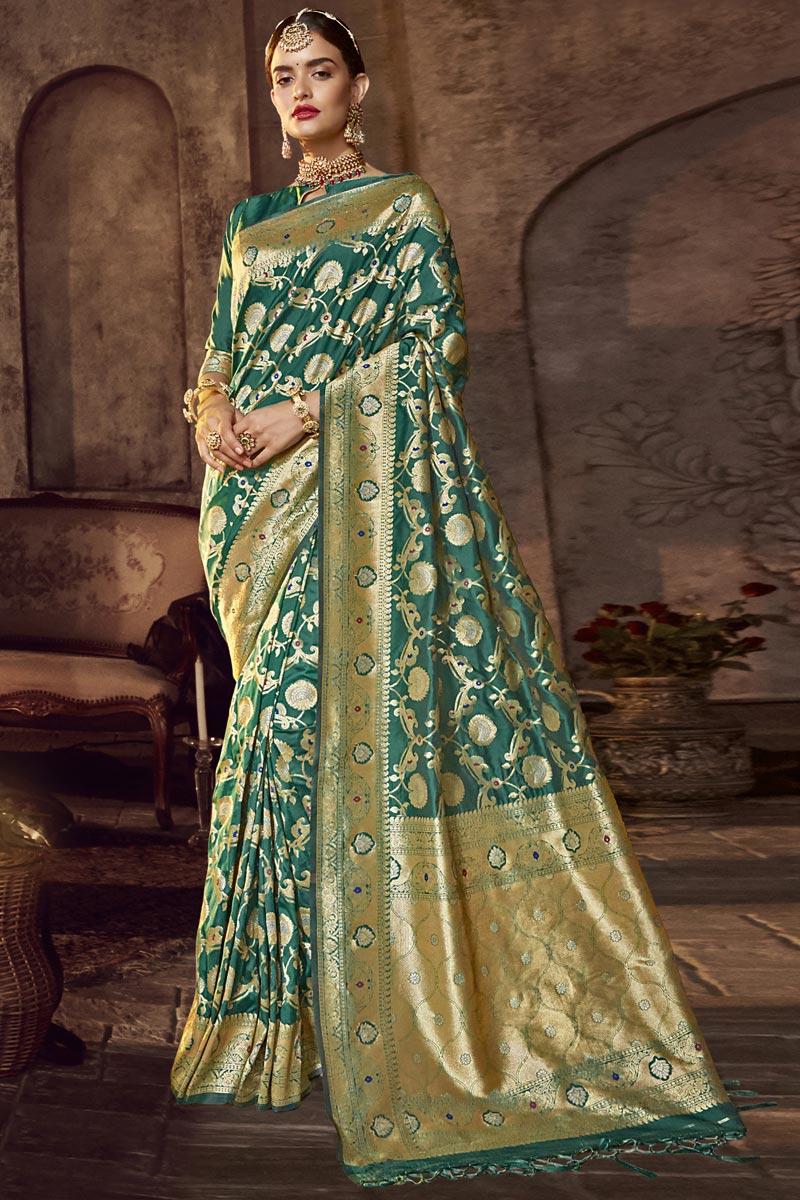 Silk Fabric Occasion Wear Green Color Designer Weaving Work Saree