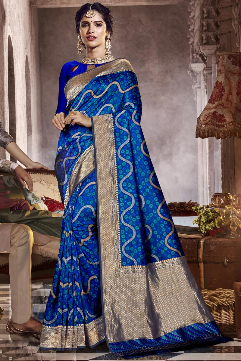 Occasion Wear Designer Silk Fabric Saree In Blue Color With Weaving Work