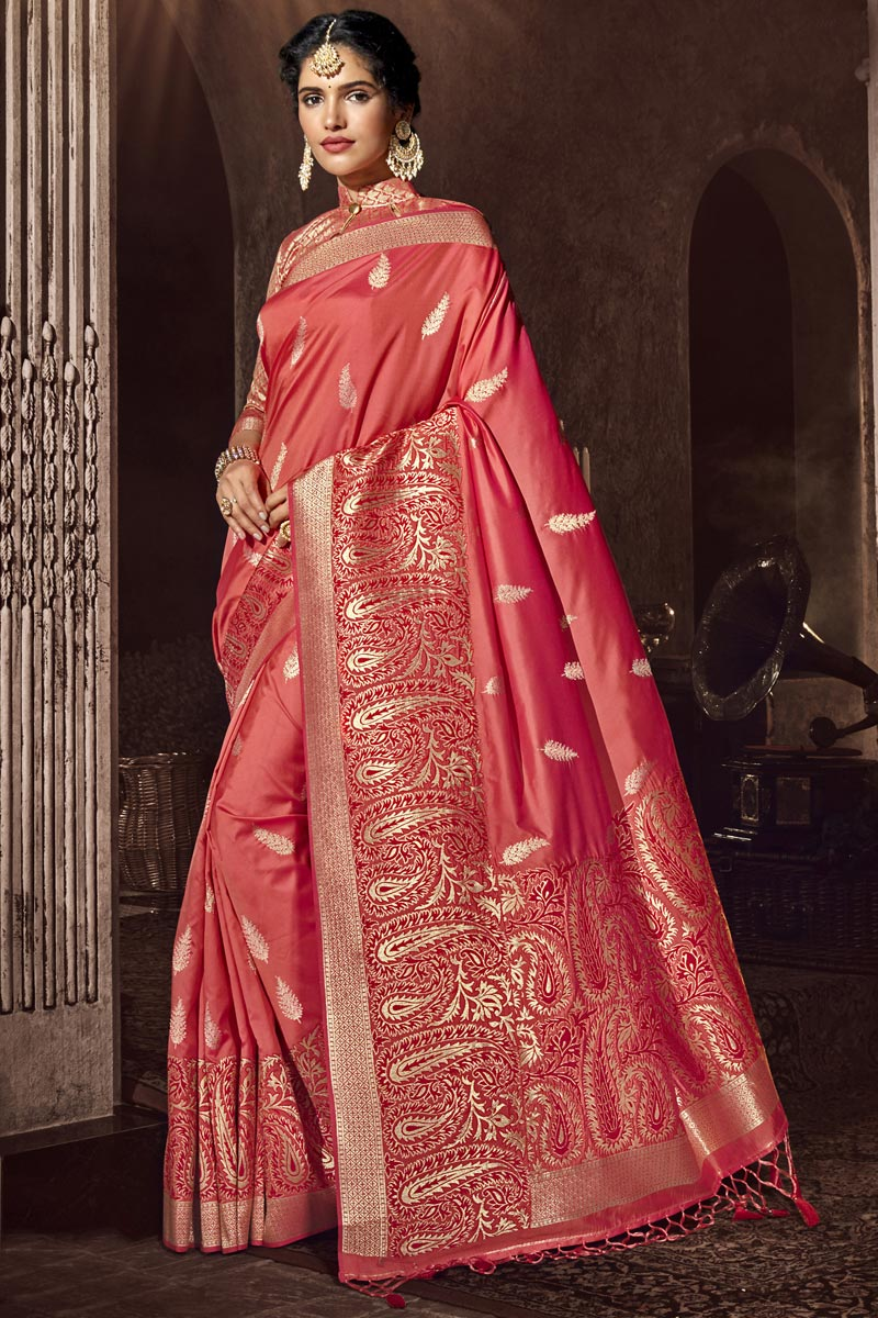 Silk Fabric Peach Color Occasion Wear Designer Saree With Weaving Work