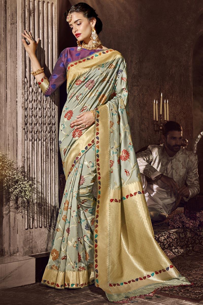 Occasion Wear Cream Color Designer Weaving Work Saree In Silk Fabric
