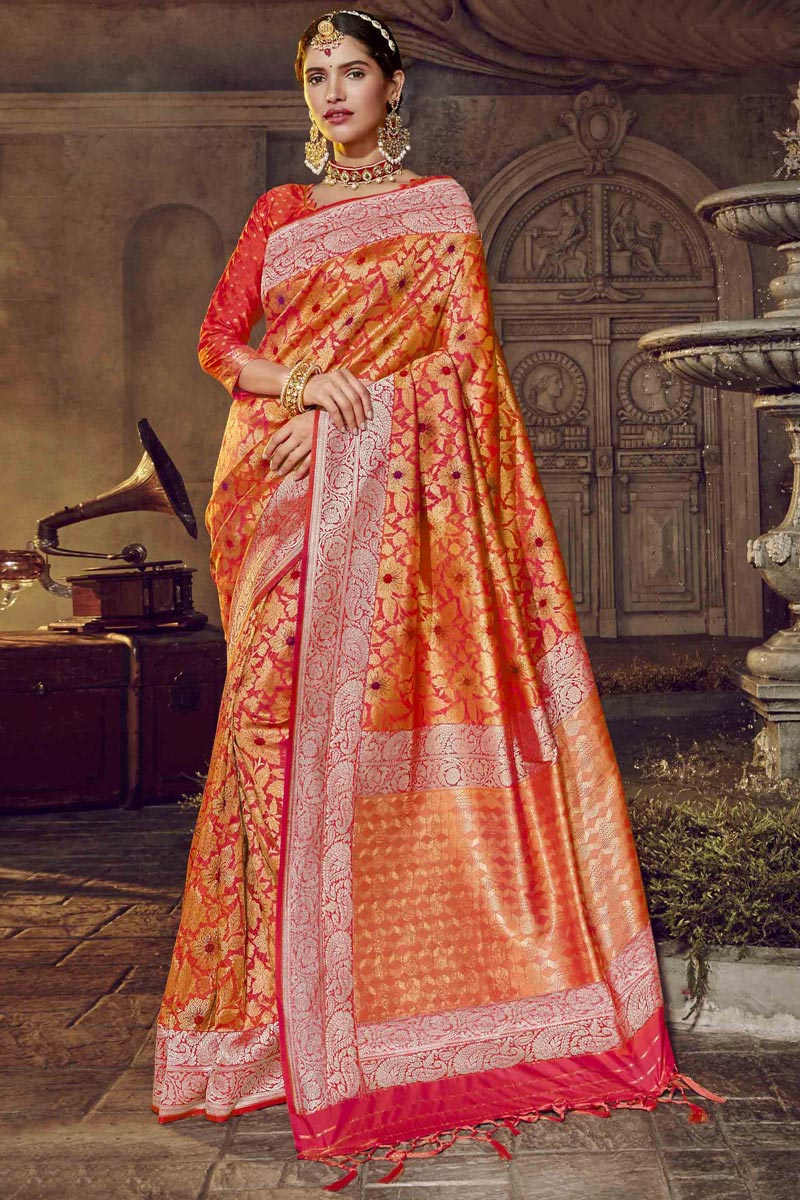 Orange Color Occasion Wear Designer Silk Fabric Saree With Weaving Work