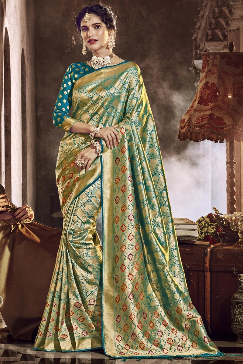 Designer Traditional Wear Cyan Color Saree In Silk Fabric With Weaving Work