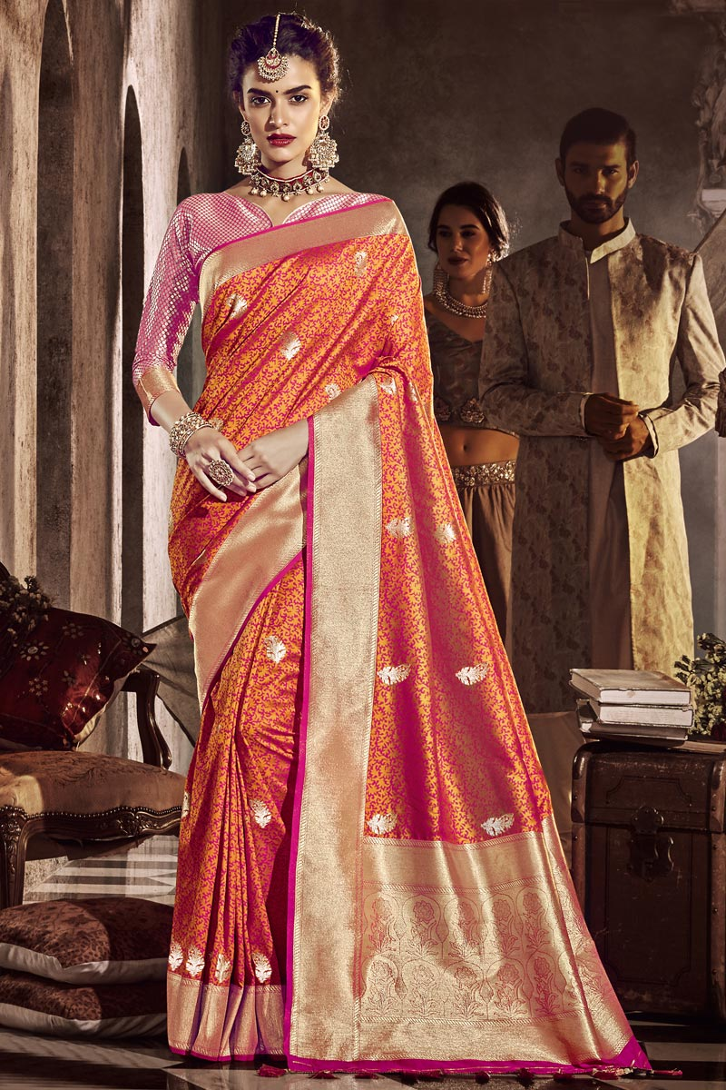 Orange Color Traditional Wear Silk Fabric Designer Weaving Work Saree