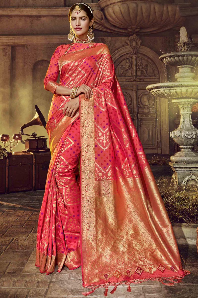 Traditional Wear Designer Pink Color Saree In Silk Fabric With Weaving Work