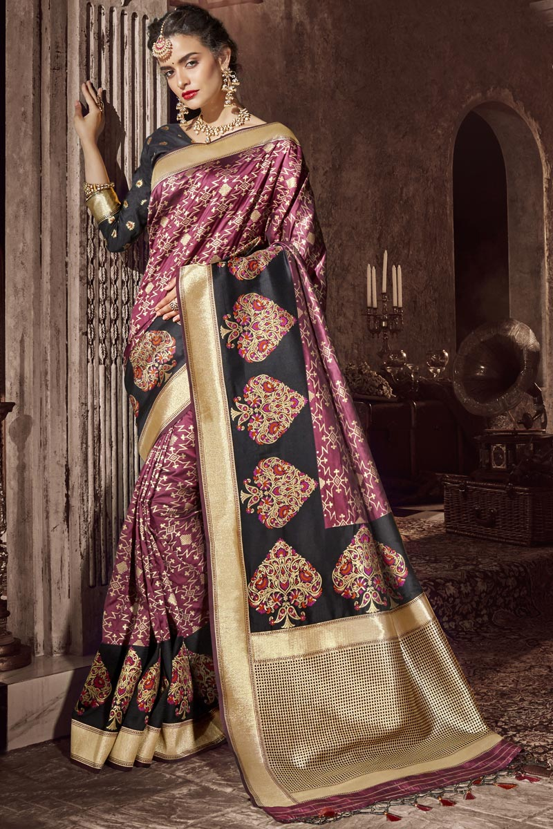 Pink Color Silk Fabric Traditional Wear Designer Saree With Weaving Work