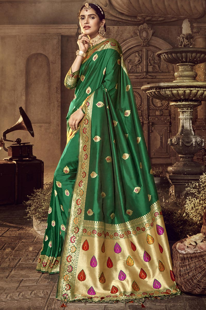 Traditional Wear Silk Fabric Designer Weaving Work Saree In Green Color