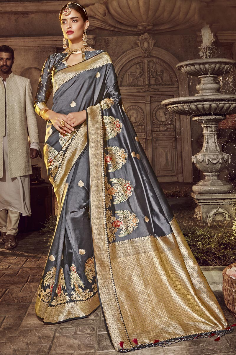 Designer Traditional Wear Silk Fabric Saree In Grey Color With Weaving Work
