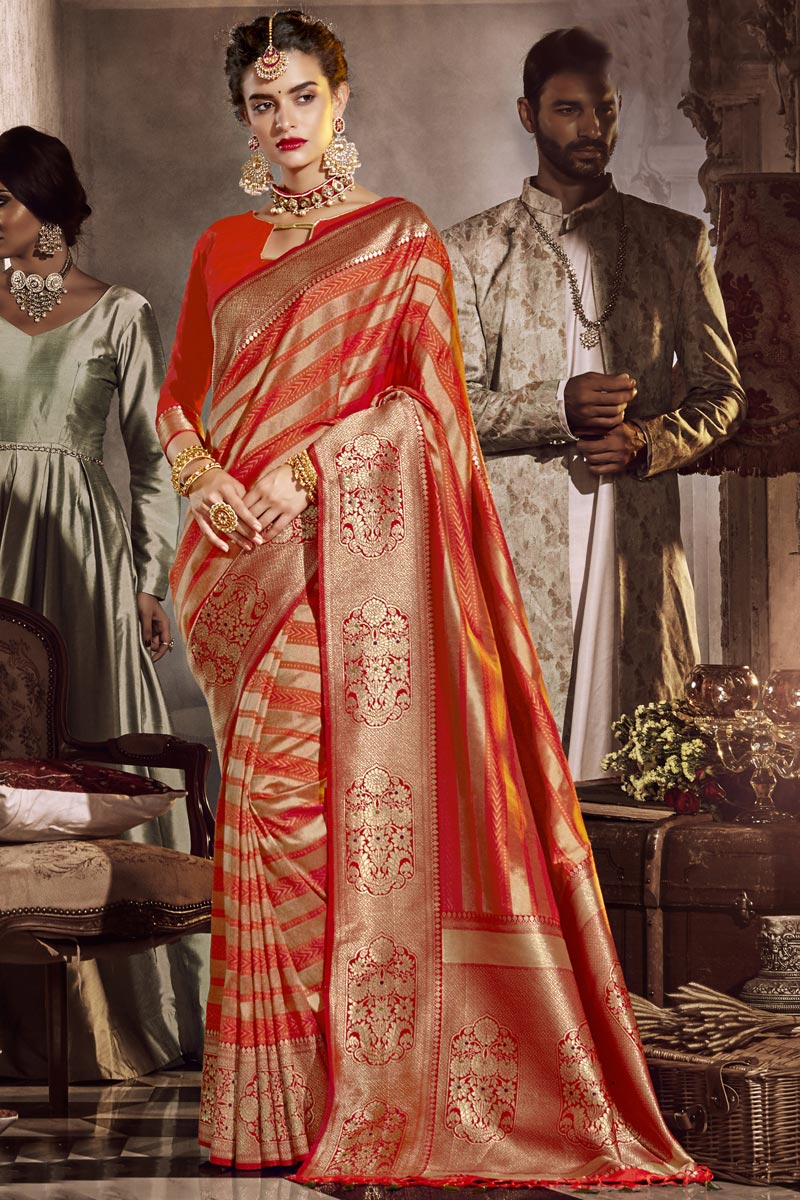 Silk Fabric Traditional Wear Red Color Designer Weaving Work Saree