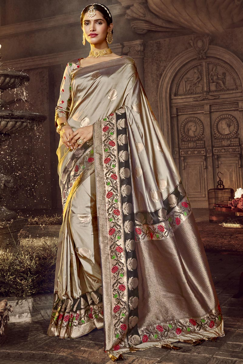 Traditional Wear Designer Silk Fabric Saree In Grey Color With Weaving Work