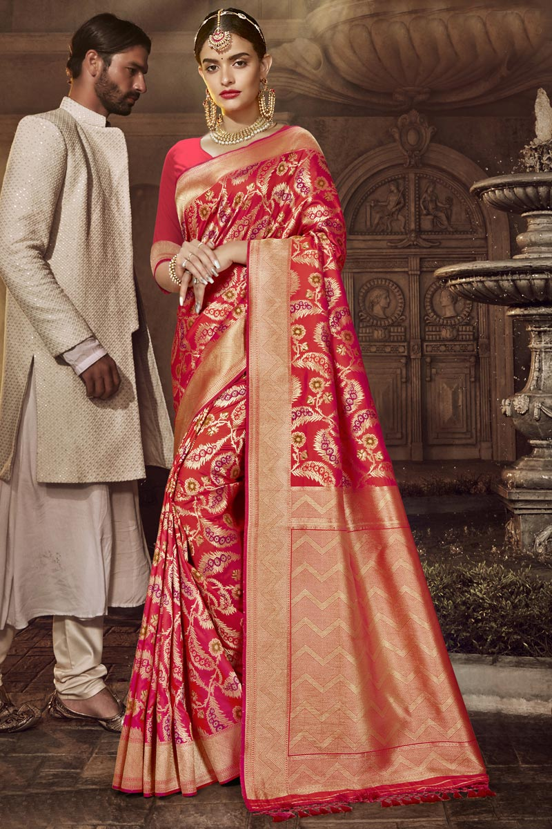 Silk Fabric Pink Color Traditional Wear Designer Saree With Weaving Work