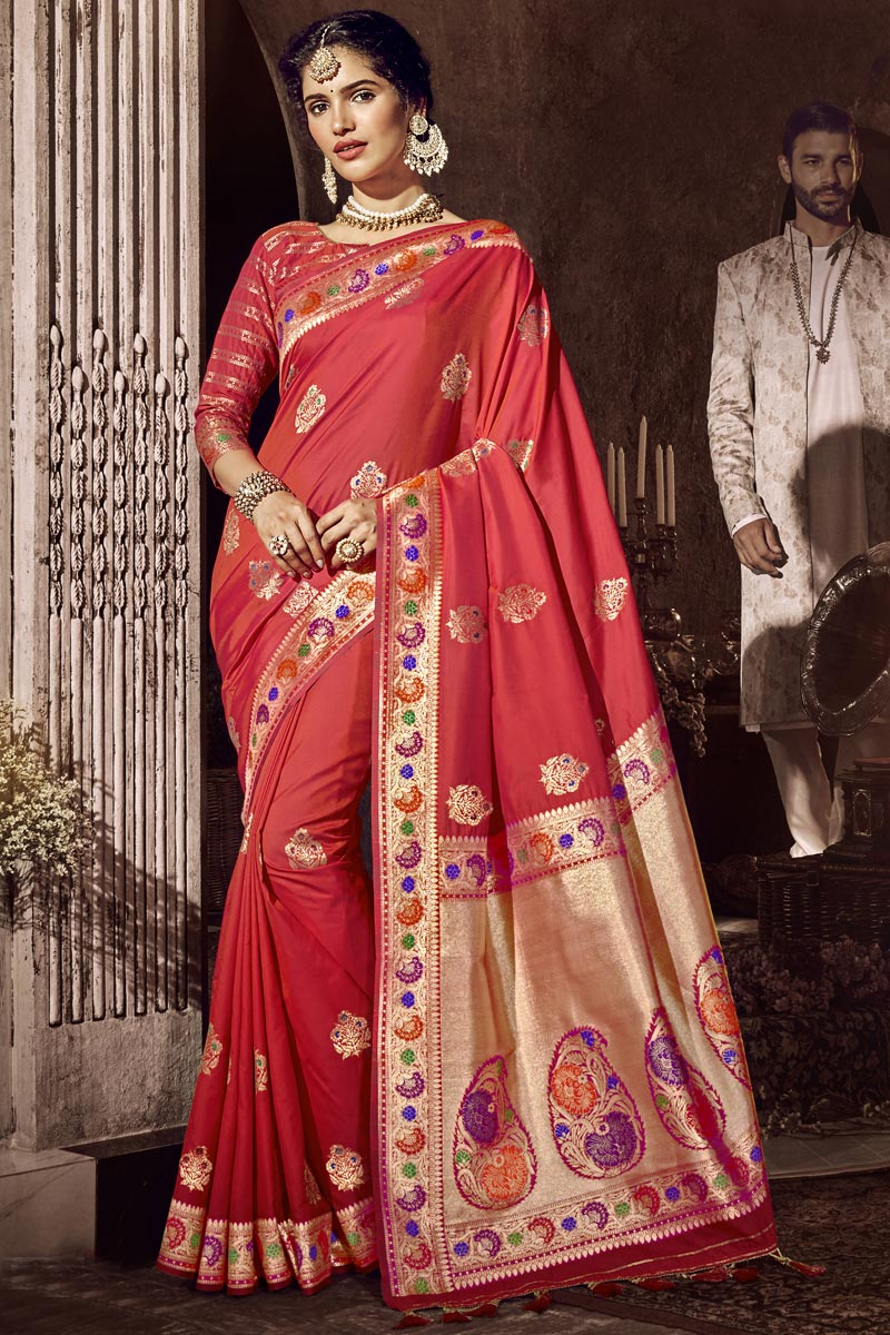 Silk Fabric Red Color Traditional Wear Designer Saree With Weaving Work