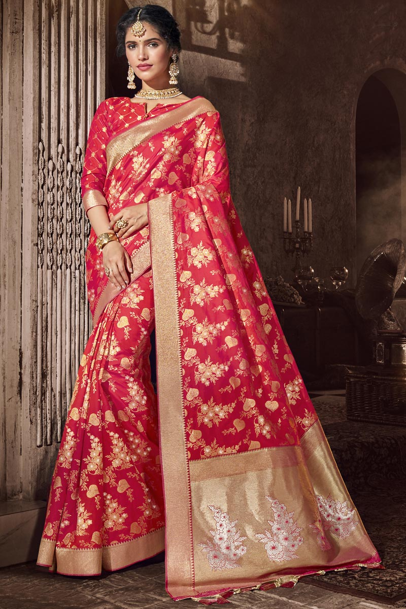 Red Color Traditional Wear Designer Silk Fabric Saree With Weaving Work