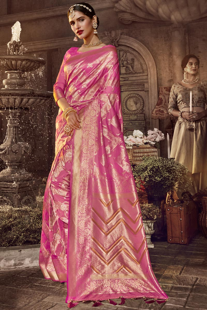 Designer Occasion Wear Pink Color Saree In Silk Fabric With Weaving Work