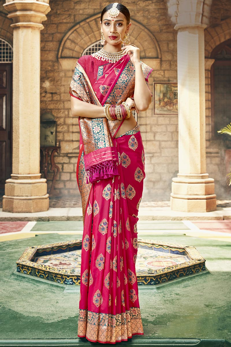 Occasion Wear Rani Color Saree In Silk Fabric With Weaving Work