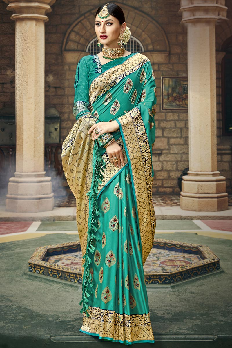 Cyan Color Silk Fabric Occasion Wear Fancy Saree With Weaving Work