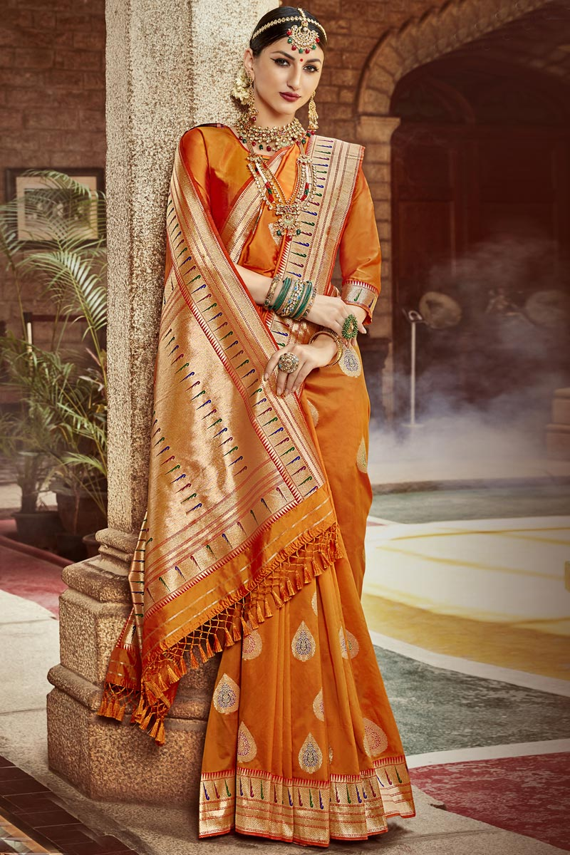 Silk Fabric Occasion Wear Fancy Orange Color Saree With Weaving Work