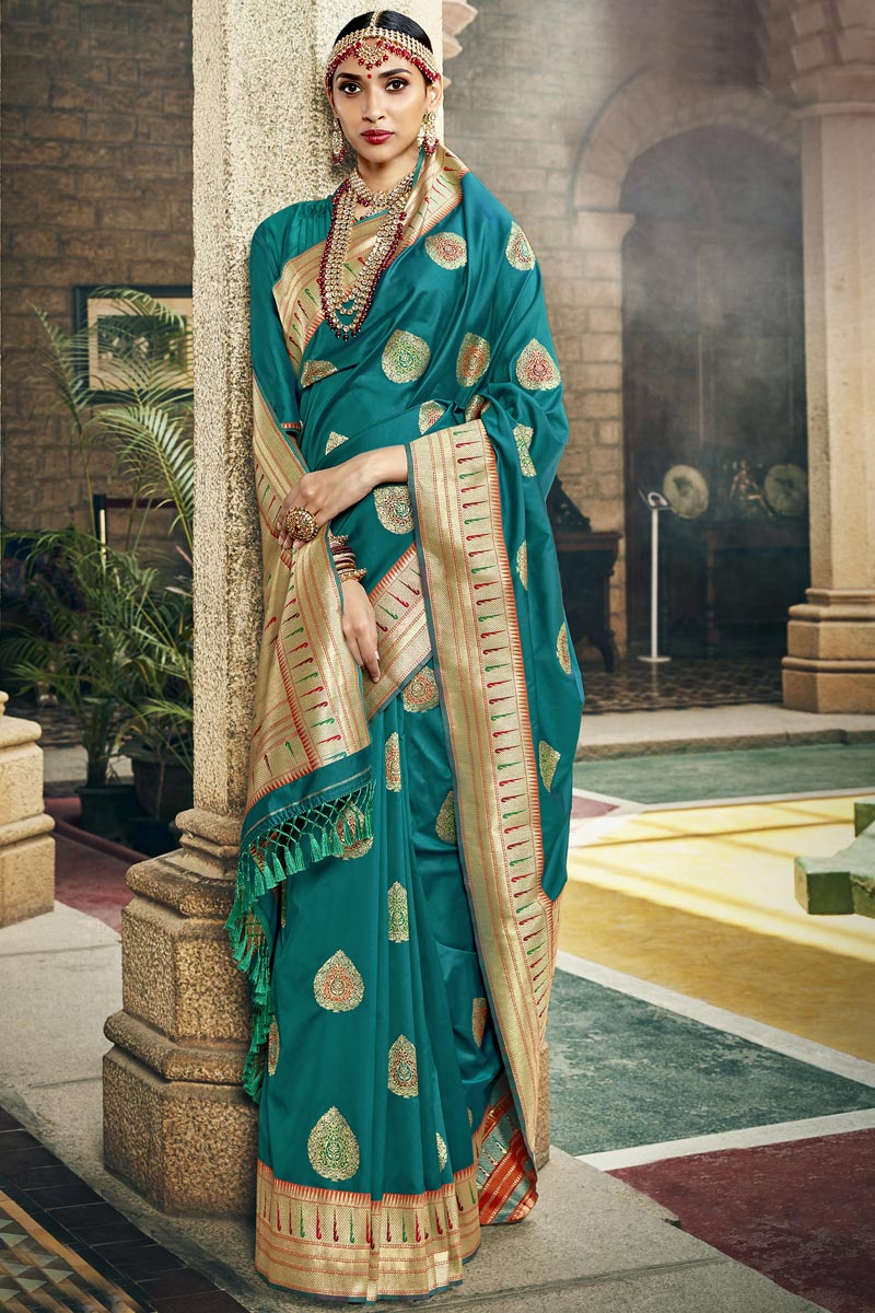 Occasion Wear Silk Fabric Saree In Teal Color With Weaving Work