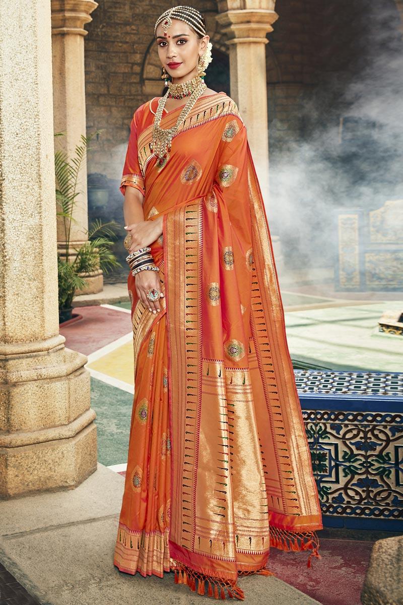 Silk Fabric Occasion Wear Orange Color Fancy Weaving Work Saree