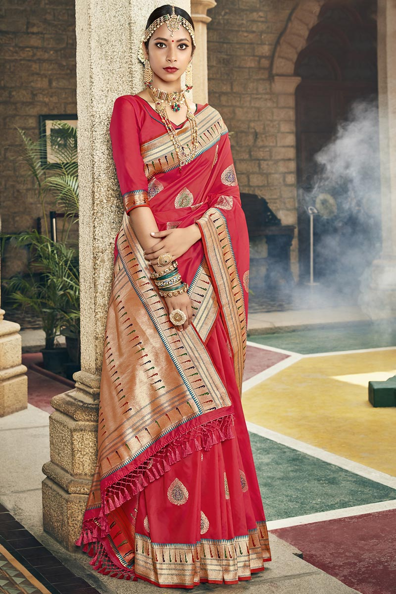 Occasion Wear Fancy Silk Fabric Saree In Red Color With Weaving Work