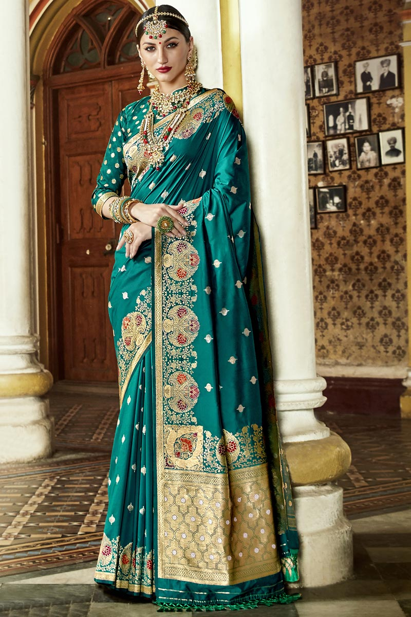 Silk Fabric Teal Color Occasion Wear Fancy Saree With Weaving Work