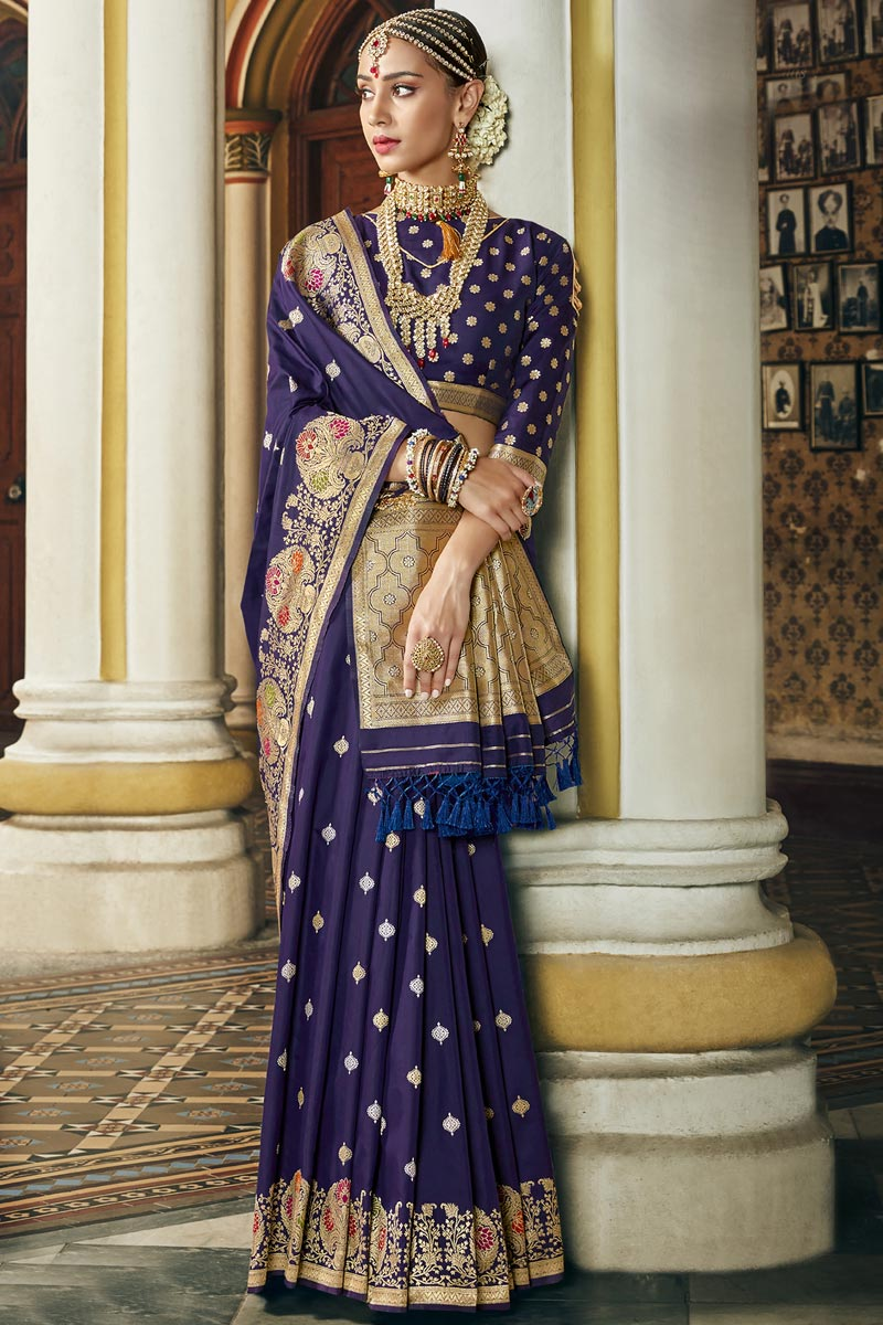 Occasion Wear Navy Blue Color Fancy Weaving Work Saree In Silk Fabric
