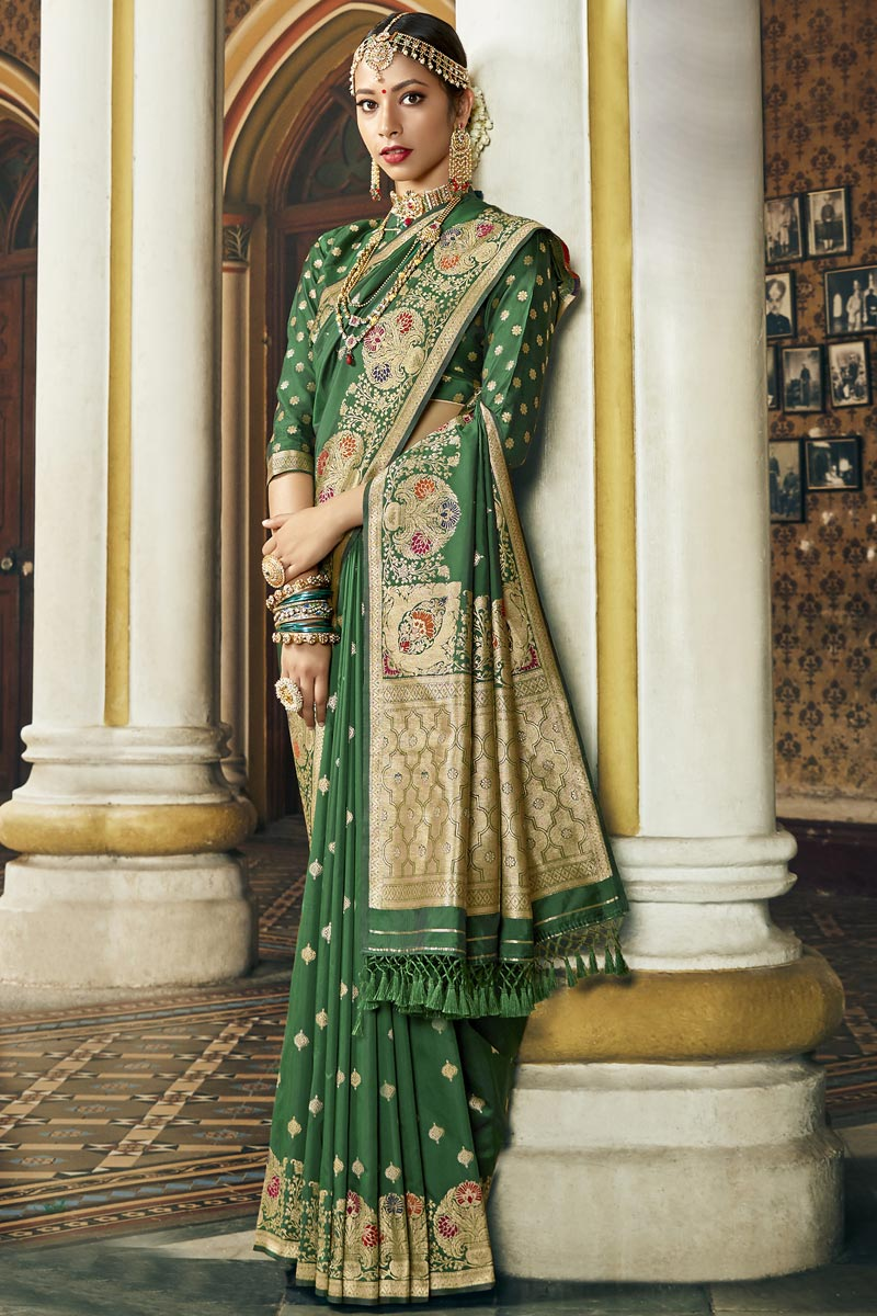 Green Color Occasion Wear Fancy Silk Fabric Saree With Weaving Work