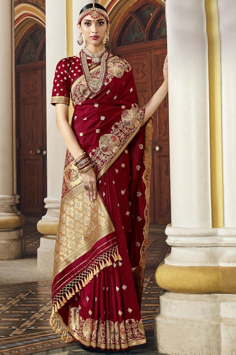 Fancy Traditional Wear Maroon Color Saree In Silk Fabric With Weaving Work