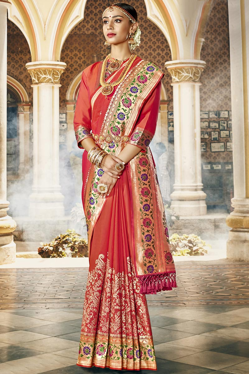 Traditional Wear Fancy Red Color Saree In Silk Fabric With Weaving Work
