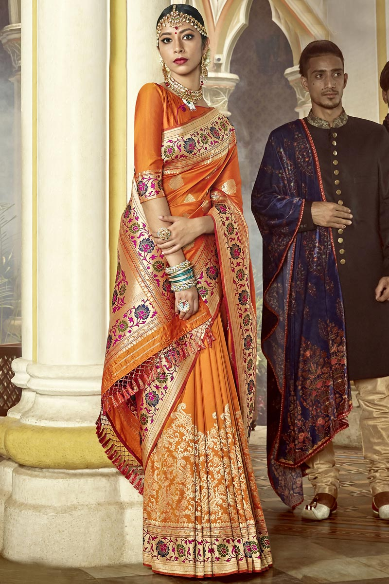 Traditional Wear Silk Fabric Fancy Weaving Work Saree In Orange Color