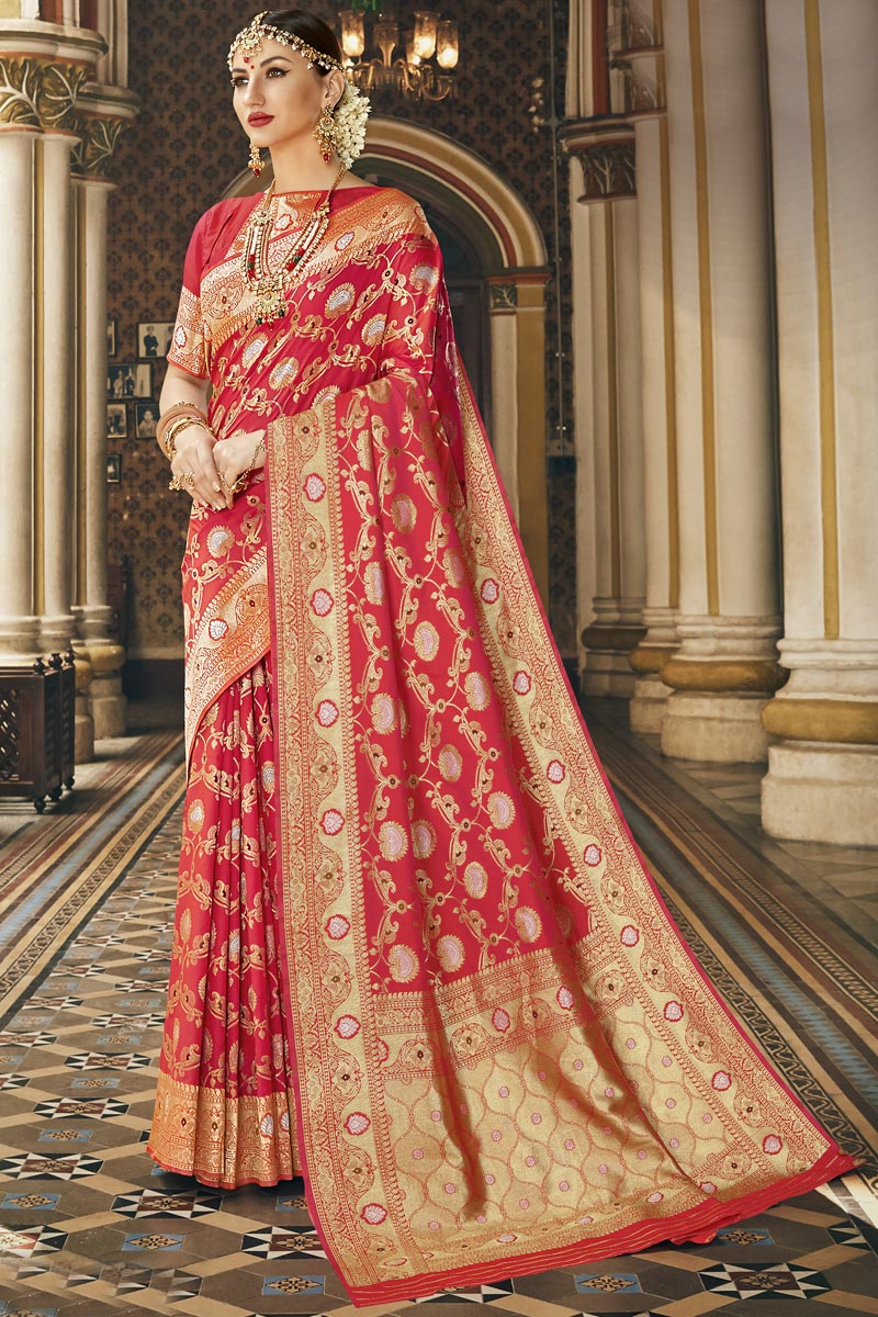 Silk Fabric Traditional Wear Fancy Red Color Saree With Weaving Work