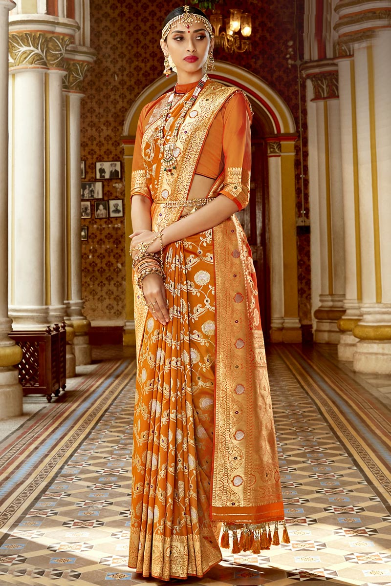 Fancy Traditional Wear Silk Fabric Saree In Orange Color With Weaving Work
