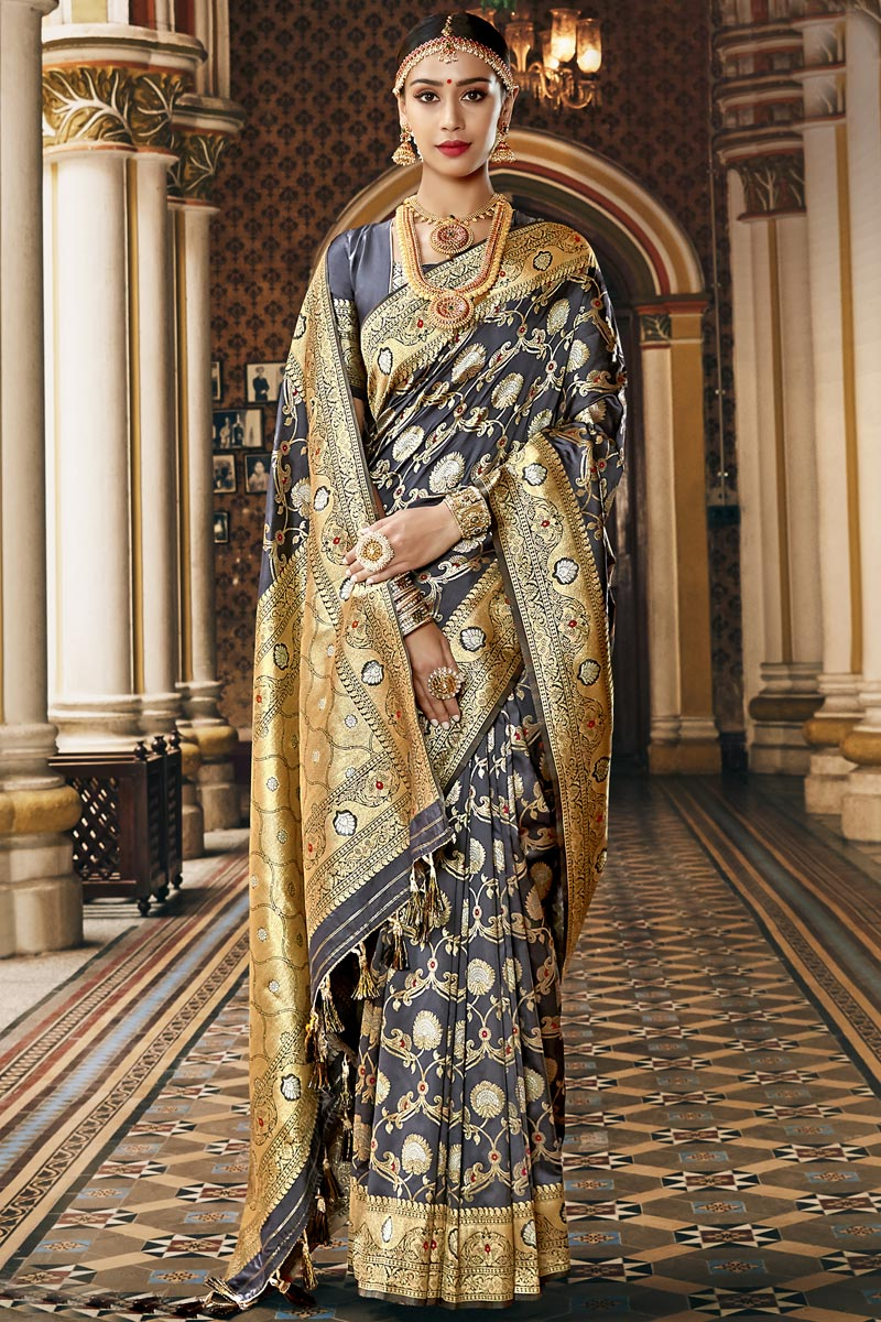 Silk Fabric Traditional Wear Grey Color Fancy Weaving Work Saree