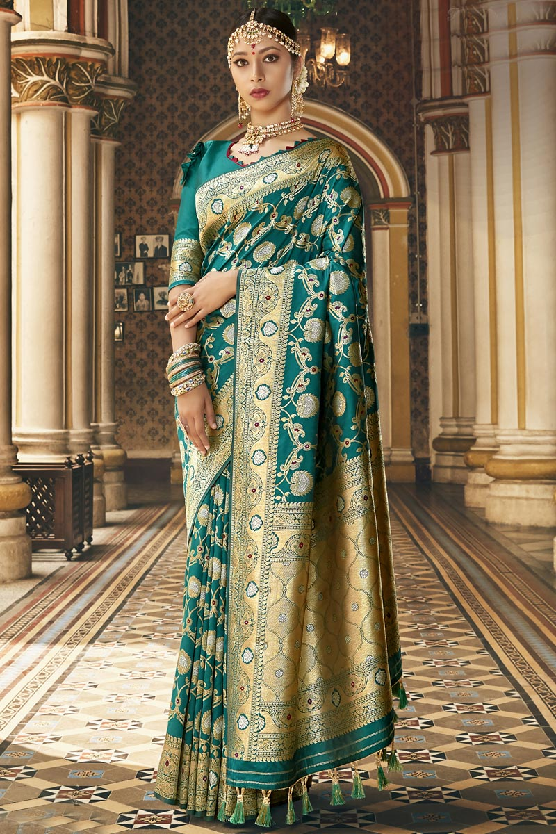 Traditional Wear Fancy Silk Fabric Saree In Teal Color With Weaving Work